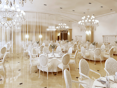 Un gran restaurante y un salón de baile en un hotel de lujo. El diseño interior se ejecuta en estilo clásico. Render 3D Foto de archivo