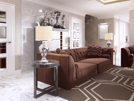 Maroon Sofa With Black Side Tables And Table Lamps. Burgundy.. Stock ...