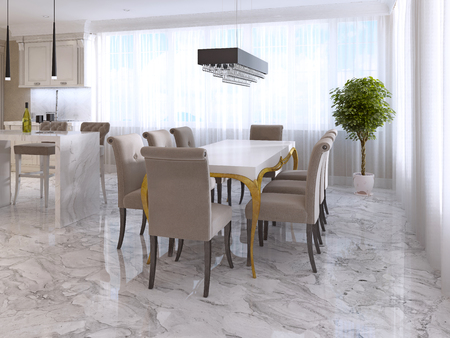 eight legs: Large dining table for eight in the style of art Deco. White Desk with gold legs and a soft fabric chairs in beige. 3D render.