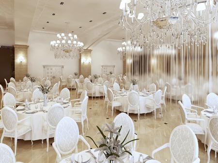Luxe modern restaurant in klassieke stijl. Met tafels van elk zeven personen. 3D renderen. Stockfoto