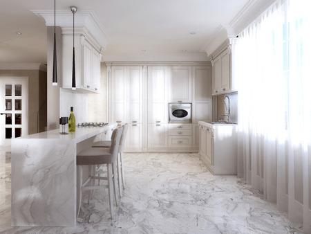 Luxe witte keuken in klassieke stijl. 3d renderen. royalty vrije