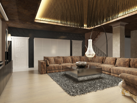 Luxury modern living room done in the art deco style in dark