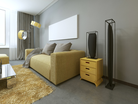 yellow walls: Contemporary living room with yellow furniture and gray walls. 3D render