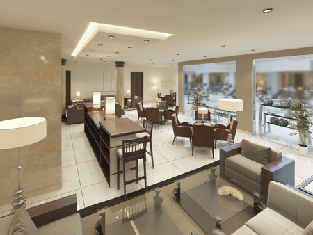 premises: Luxury design cocktail bar with a bar counter in the premises of the Spa complex. 3D render.