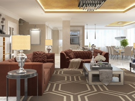 wenge: Luxury designer apartment-studio in art Deco style. Living area blending smoothly into the dining room and kitchen. The Golden ceiling and the marble white floor. 3D render. Stock Photo