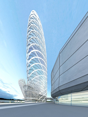 futuristic: The futuristic architecture of the future, made of glass and steel. 3D render Stock Photo