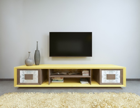 tv stand: TV unit in living room with yellow TV on the wall. 3D render.