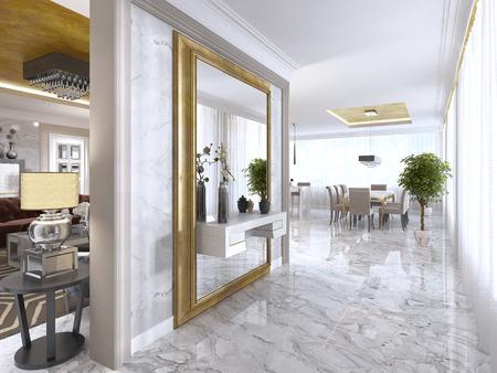 Lujoso hall de entrada Art-Deco con un espejo grande del diseñador en el marco del oro y la decoración de la consola incorporada. render 3D. Foto de archivo