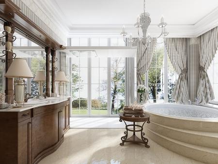Bagno in stile neo-classico di lusso con lavandini vasche e una grande vasca circolare con gradini di marmo. Una sedia confortevole per rilassarsi. 3D render.
