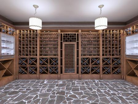 Weinkeller im Keller des Hauses in einem rustikalen Stil. Offene Weinregale mit Flaschen. 3D übertragen.