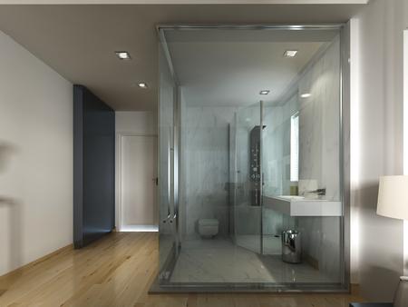 Una camera d'albergo di lusso in un design contemporaneo con vetro e bagno see-through. 3D render.