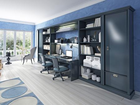 Children's furniture storage system with two built-in desks. Children's has a modern design in blue. 3D render.