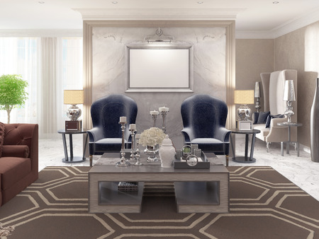 bedside tables: Two luxurious armchairs in the style of art Deco with a coffee table and the picture illuminated on the wall. Two bedside tables with large lamps. 3D render.