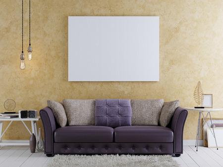 mock up blank poster on the wall of modern livingroom, 3D render Imagens