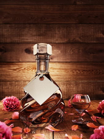Cognac in a glass with rose petals. Background wooden board with illumination. 3D render.