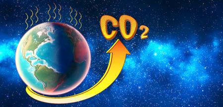 El nivel de CO2 en la atmósfera del planeta aumenta y supera la norma. Render 3D. Foto de archivo
