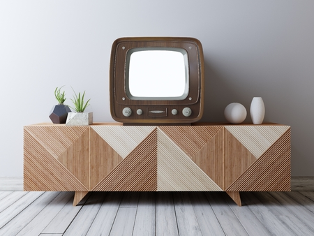 Vintage TV with mockup screen on the media unit. Loft interior with vintage TV and media console. 3D render.