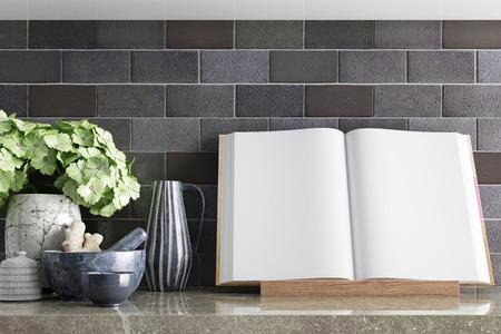 maquette des pages du livre de cuisine sur le dessus de la table avec un décor de cuisine. Rendu 3D. Illustration 3d