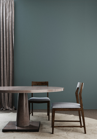 front view banner of a dining table in a fancy mockup wall. 3d render.
