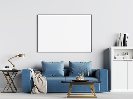mock up poster frame in interior background with blue sofa, Scandinavian style, 3D render, 3D illustration