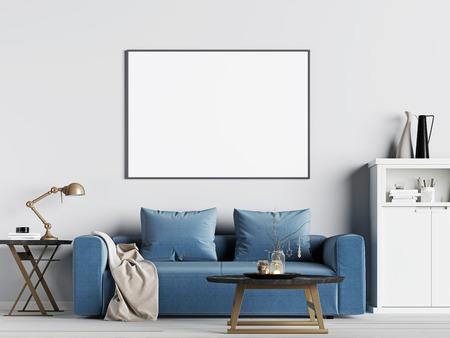 블루 소파, 스칸디나비아 스타일, 3D 렌더링, 3D 일러스트와 함께 인테리어 배경에서 포스터 프레임을 모의