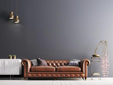 leere Wand im klassischen Stil Interieur mit Ledersofa auf grauer Hintergrundwand. 3D-Rendering