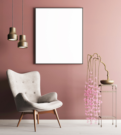 mock up poster with chair & plant on table, minimalism loft interior background, 3D rendering, 3D illustration