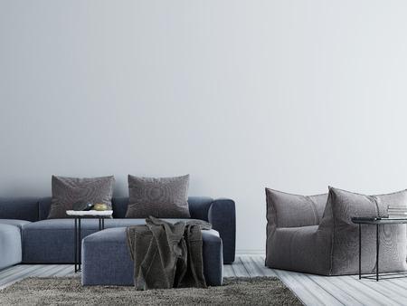 Mur vide dans un intérieur de salon sophistiqué avec canapé en tissu, chaise et table. Rendu 3D