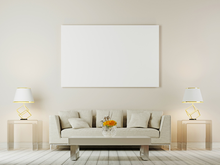 Living room interior wall mock up with white sofa, pillows and lamps on brown background, 3D rendering, 3D illustration Reklamní fotografie