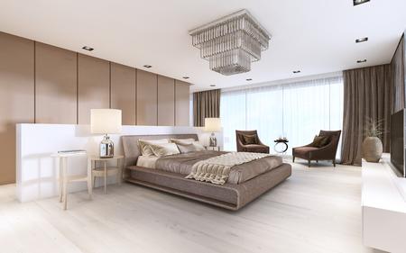 Luxurious modern master bedroom in light colors in pastel colors. 3D rendering 免版税图像