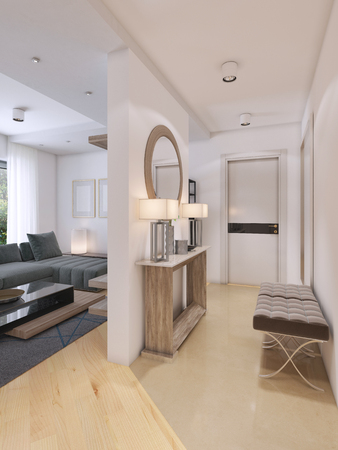 Luxurious entrance hall in a modern style with a table for keys and a mirror. 3D rendering