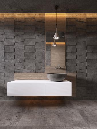 Badezimmer-Eitelkeiten weiße Farbe Steinwaschbecken, zeitgenössischer Stil. 3D-Rendering Standard-Bild
