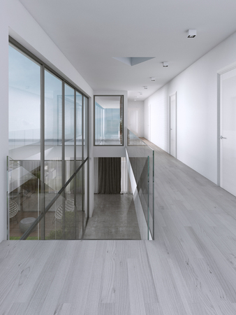 Corridor in a modern house with large windows. 3D rendering