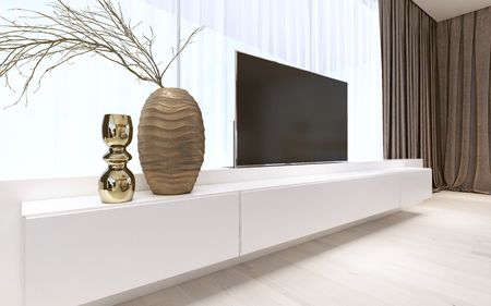 White TV unit with pull-out TV. 3D rendering Stock Photo