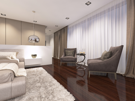 Two luxurious soft armchairs in the evening bedroom, art deco style. 3D rendering