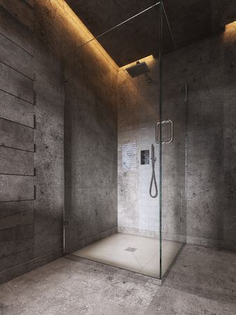 Glass shower room on a dark brown wall background. 3D rendering Фото со стока