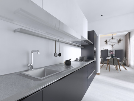 Luxurious Contemporary kitchen with gray matte furniture in white interior. 3D rendering.