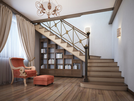 Library under the stairs with a red armchair in the English style. 3D rendering. Archivio Fotografico