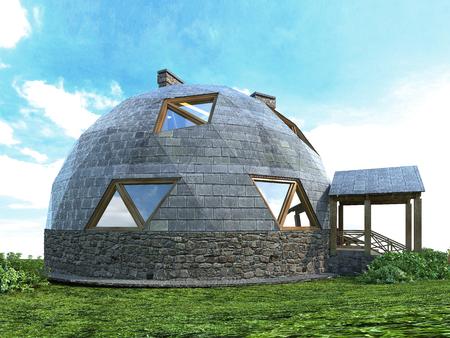 Preciosa casa domo del futuro. Diseño verde, innovación, arquitectura. Representación 3D. Foto de archivo