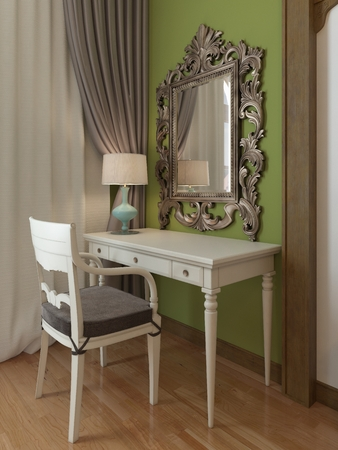 Dressing table with a mirror in the bedroom, middle eastern design. 3D rendering