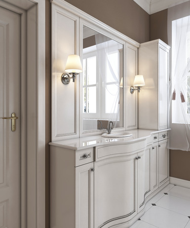 Beautiful white vanity, contemporary classic styled clean white bathroom. 3D rendering