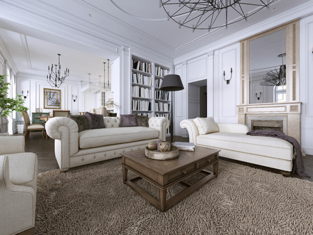 Classic interior. Sofa, chairs, sidetables with lamps,table with decor. White walls with mouldings. Floor parquet herringbone,rug with pattern. 3d rendering
