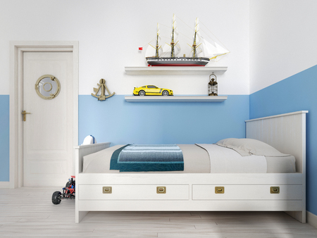 Children's bedroom with a white bed in the room and a shelf with a vintage ship and various toys. 3D rendering