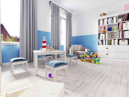 Boy s bedroom interior with a white wall, like bed, cabinet, framed poster and toys. 3d rendering Stock fotó