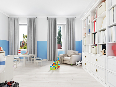 Beautiful and cute toys in a child's room. 3d rendering Archivio Fotografico