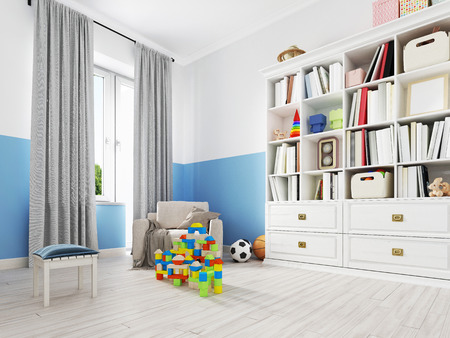 Boy s bedroom interior with a white wall, like bed, cabinet, framed poster and toys. 3d rendering Stockfoto