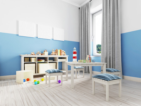 Boy s bedroom interior with a white wall, like bed, cabinet, framed poster and toys. 3d rendering Banco de Imagens