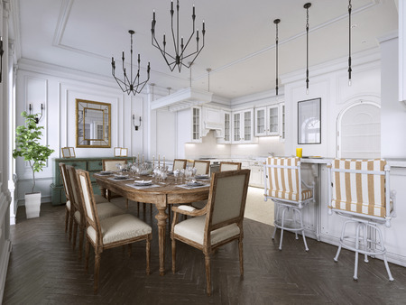 Luxury classic interior of dining room, kitchen and living room with white and brown furniture and metal chandeliers. 3d rendering