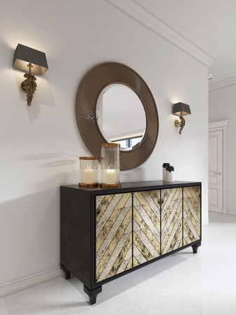 Luxurious art deco style dresser with gilded facade and patina. Round mirror over the chest and sconce. 3D rendering.