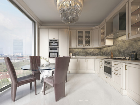 Contemporary kitchen with elements of a classic with a dining table glass chandelier. Interior in beige colors. 3D rendering.